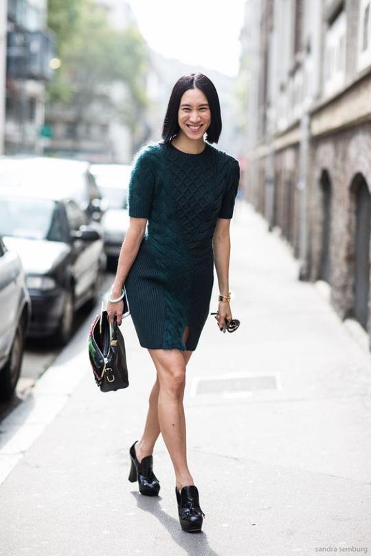 Paris Fashionweek ss2014 day 5, outside Chloé, Eva Chen