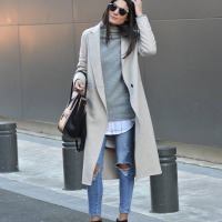 trench coat x ripped jeans